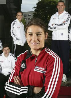 Katie Taylor with fellow sports stars Michael McKillop (left), Michael Conlan and Alan Quinlan at the launch of the Sky Sports 'Living For Sport' programme in Dublin