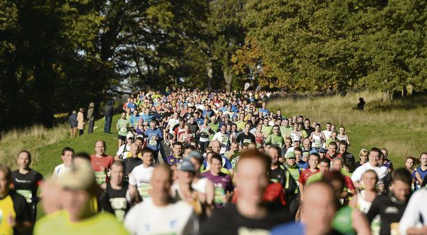 Dublin Marathon competitors make their way through the Phoenix Park yesterday BARRY CREGG / SPORTSFILE