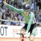 Ireland's Martyn Irvine celebrates winning gold in the Men's 30KM Points Race at the 2013 UCI Track Cycling World Cup in Manchester