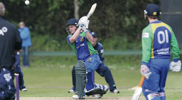 Niall McDonnell of the North West Warriors plays a shot against Leinster Lightning during their Newstalk Interprovincial Cup clash at The Hills yesterday. Photo: Tony Gavin