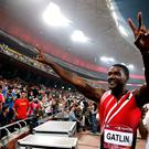 Justin Gatlin of the United States celebrates winning the Men's 100m with Chinese fans during 2014 IAAF World Challenge Beijing at National Stadium in Beijing, China. (Photo by Lintao Zhang/Getty Images)