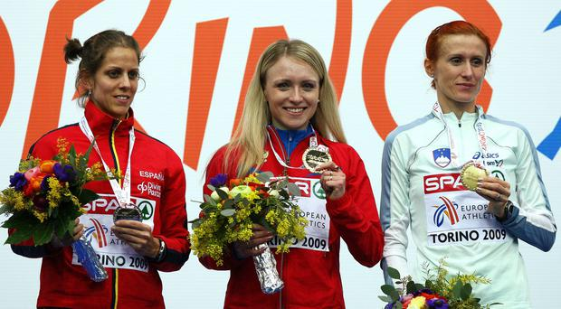 Anna Alminova's (C) has been caught doping for a second time and her results for the period which included gold in the European Indoors 1,500m in Turin 2009