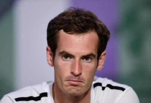 Andy Murray during a press conference after losing his Men's Quarter Final match against Bulgaria's Grigor Dimitrov at the Wimbledon Championships