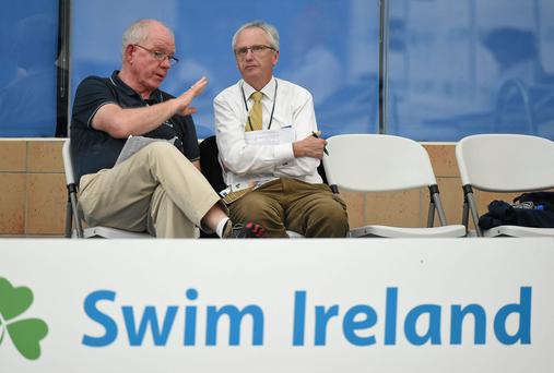 Peter Banks, left, National Performance Director, Swim Ireland in conversation with John Treacy, Chief Executive, Irish Sports Council
