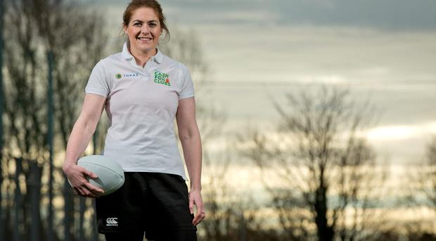 Fiona Coghlan at the launch of the Topaz Cash for Clubs Campaign at Lansdowne Road yesterday