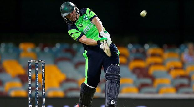 Kevin O'Brien of Ireland bats during the 2015 ICC Cricket World Cup match between Ireland and the United Arab Emirates