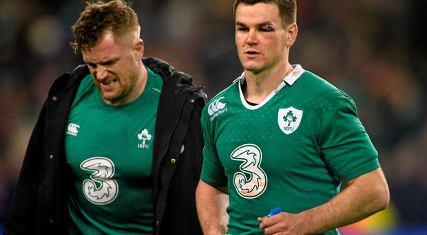 Ireland's Jonathan Sexton, right, and Jamie Heaslip after the game