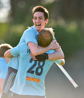 Monkstown's Andrew Ward and Fabian Wullschleger, 28, celebrate
