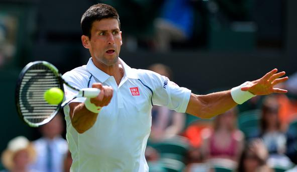 Novak Djokovic on his way to victory at Wimbledon over Philipp Kohlschreiber