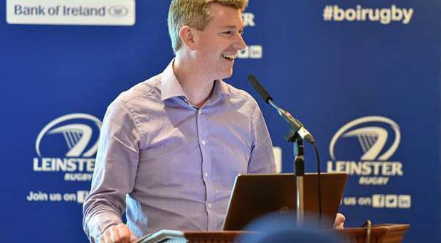 Barry Lambkin, Portarlington's public relations officer, speaking at the last Communications Seminar held in the RDS