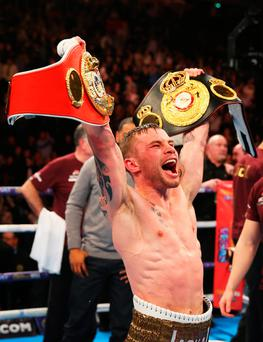 Carl Frampton celebrates after his victory over Scott Quigg. Photo: Getty Images