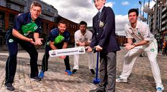 Callum O'Byrne from Castleknock College pictured in Smithfield, Dublin last week with Irish internationals Peter Chase, Max Sorensen, Andrew Balbirnie and George Dockrell. Photo: David Maher