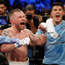 Carl Frampton with Shane McGuigan after defeating Santa Cruz