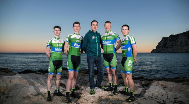Irish members of the An Post Chain Reaction Team Matthew Teggart, Sean McKenna, Sean Kelly, Damien Shaw and Conor Hennebry at the 2017 team launch in Calpe, Spain. Photo: INPHO/Dan Sheridan