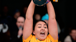 Niamh Quirke, lifting the Agnes O'Farrelly Cup Photo: SPORTSFILE