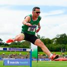Thomas Barr on his way to victory at Morton Stadium Photo: Sportsfile