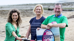 John Greene of the Sunday Independent and RTÉ news anchor Eileen Dunne with Coast2Coast cyclist Brian Mabee, event PRO Claire Mc Cormack, and event organiser Frank Dillon in Malahide, where next weekend's charity cycle will conclude.