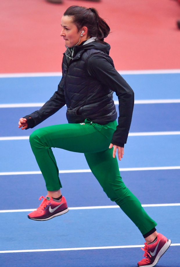 Phil Healy going through her paces ahead of the IAAF World Indoor Championships in Birmingham. Photo: Sportsfile
