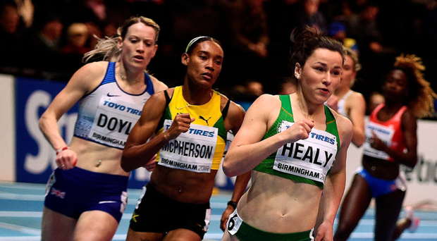 Phil Healy in action during the women's 400m heats at the Birmingham Arena yesterday. Photo: Sportsfile