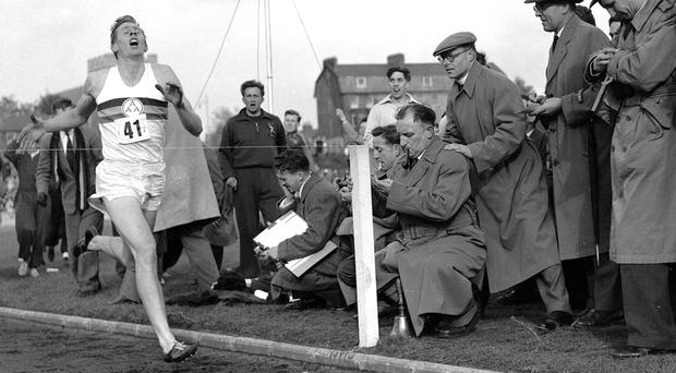 MILESTONE: Roger Bannister breaks the four-minute barrier on May 6, 1954. Photo: AP