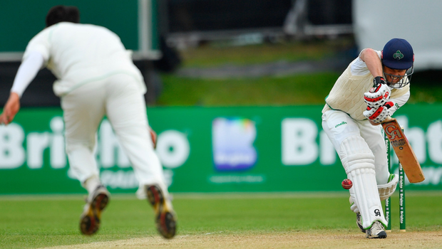 Ed Joyce defends a delivery from Mohammad Abbas of Pakistan. Photo: Sportsfile