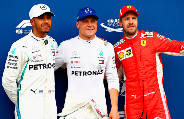 Lewis Hamilton, Valtteri Bottas (first) and Sebastian Vettel who qualified top of the grid for Austria