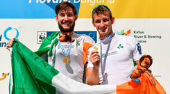 Gary and Paul O'Donovan celebrate after winning the lightweight men's double sculls final at the World Rowing Championships in Plovdiv, Bulgaria yesterday. Photo: Seb Daly