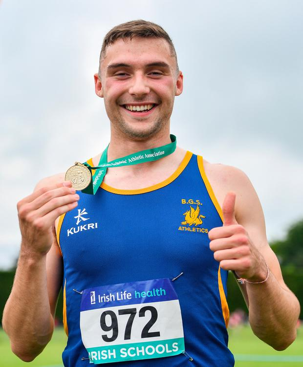 Aaron Sexton with his gold medal after winning the Senior Boys 100m event during the Irish Life Health All-Ireland Schools Track and Field Championships in Tullamore, Co Offaly earlier this month. Photo: Sportsfile