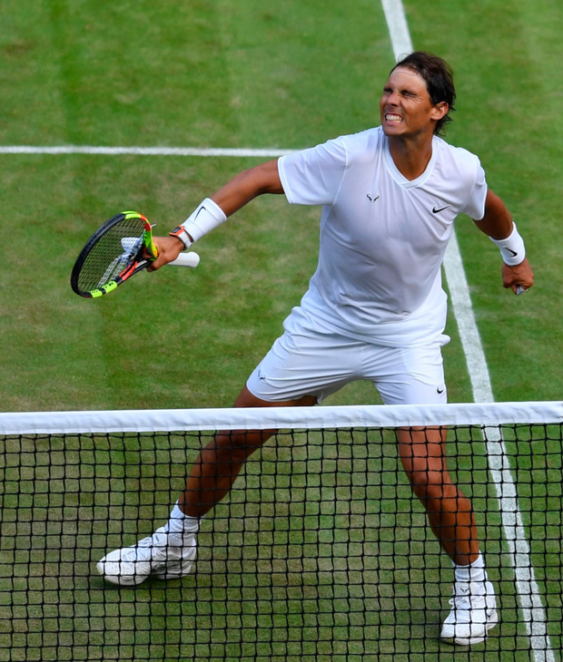 Rafael Nadal celebrates his quarter-final win over Sam Querrey. Photo: AFP/Getty Images