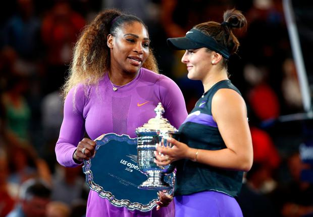 Bianca Andreescu is congratulated by Serena Williams after the Canadian's US Open final win on Saturday night in New York. Photo: Clive Brunskill/Getty Images