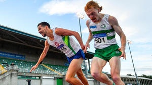 Paul Robinson (left) of St Coca's AC, Kildare crosses the finish line to win the Men's 1,500 ahead Clonmel AC's Sean Tobin. Photo: Sportsfile