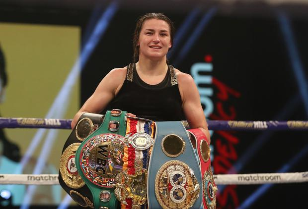 Katie Taylor following her Undisputed Female Lightweight Championship bout victory over Miriam Gutierrez at SSE Wembley Arena last November. Photo: Mark Robinson/Sportsfile