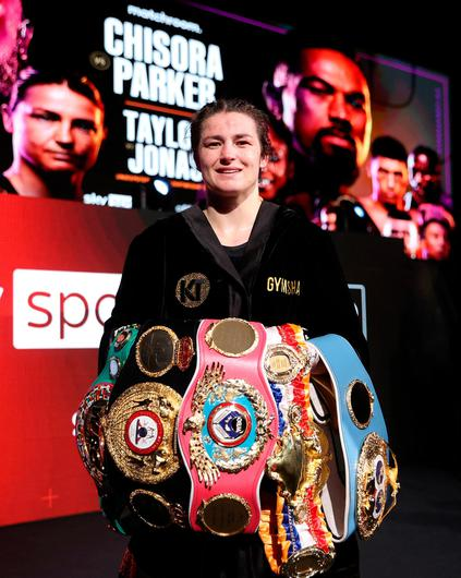 Katie Taylor with her world title belts. Picture: Mark Robinson / Matchroom Boxing via Sportsfile