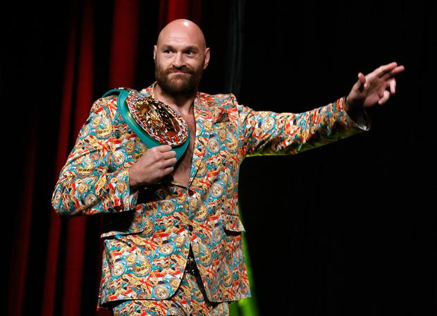 WBC heavyweight champion Tyson Fury arrives a news conference at MGM Grand Garden Arena on October 6, 2021 in Las Vegas, Nevada. Fury will defend his title against Deontay Wilder on October 9 at T-Mobile Arena in Las Vegas.