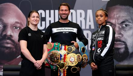 Katie Taylor and Natasha Jonas square off, in the company of promoter Eddie Hearn, ahead of their WBC, WBA, IBF and WBO female lightweight title fight. Photo by Mark Robinson/Matchroom Boxing/Sportsfile