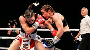 Katie Taylor in action against Jennifer Han. Image credit: Sportsfile.