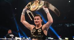 Cardiff , United Kingdom - 28 October 2017; Katie Taylor celebrates following her vacant WBA World Female Lightweight Title bout with Anahi Sanchez at the Principality Stadium in Cardiff, Wales. (Photo By Stephen McCarthy/Sportsfile via Getty Images)