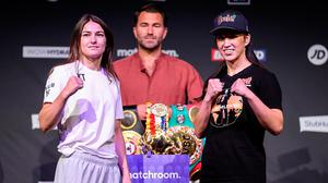 Katie Taylor (left) and Jennifer Han face off during the weigh-ins before their Undisputed Female Lightweight Championship bout in Leeds, England. Photo: Mark Robinson/Matchroom Boxing via Sportsfile