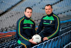 Ireland manager Paul Earley, right, and captain Michael Murphy launch the International Rules Series at Croke Park