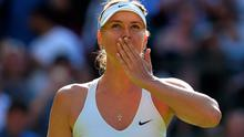 Maria Sharapova acknowledges the Wimbledon crowd after her victory