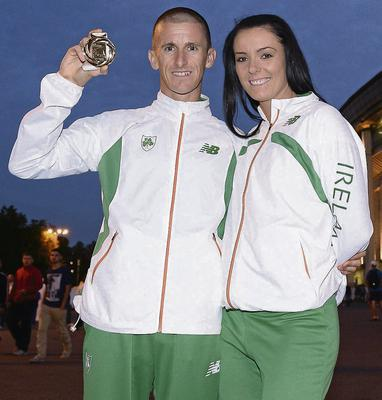 Rob Heffernan with his wife and manager Marian SPORTSFILE