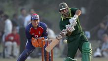 Pakistan's Faisal Iqbal hits the bowling of England's Shaun Udal at The Bagh-e-Jinnah Ground in 2005