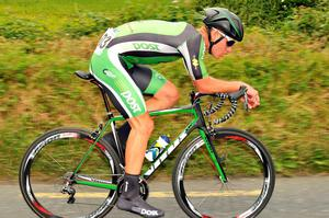 Ryan Mullen rides in the Men's Under-23 time trial in Richmond tonight