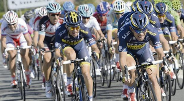 Nicolas Roche's Saxo-Tinkoff team-mates lead the charge to split the field during the 17th stage of the Vuelta