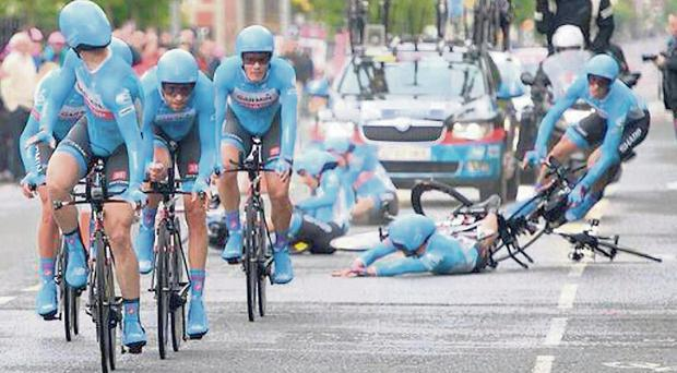 Dan Martin crashes during the Giro d'Italia team time trial last week