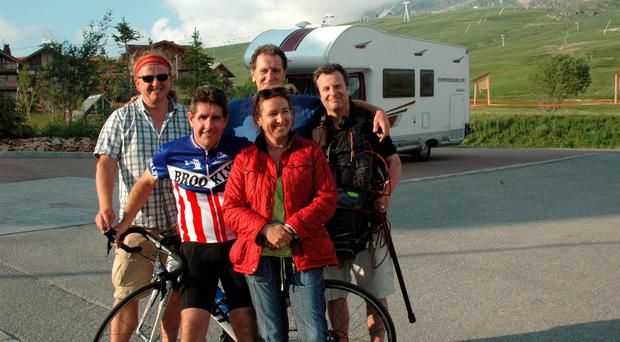Paul Kimmage and his wife, Ann, during filming of Rough Rider at Alpe d'Heuz with (back row, left to right) Ronan Fox, Tony Whelan and Adrian McCarthy