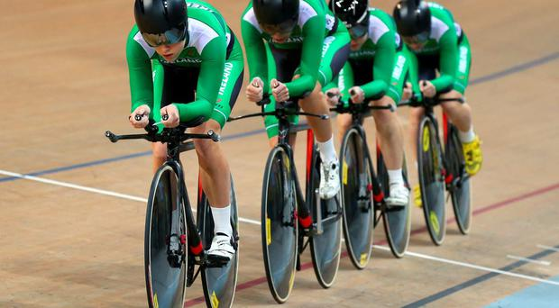 Caroline Ryan, Lydia Boylan, Lauren Creamer and Josie Knight of Ireland compete in the Women's Team Pursuit qualifying round during day one of the UCI Track Cycling World Championships at the National Velodrome in Paris