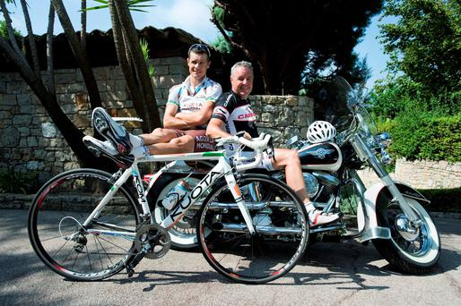 Cyclist Stephen Roche with his son, fellow cyclist and 'Irish Independent' columnist Nicholas pictured in France