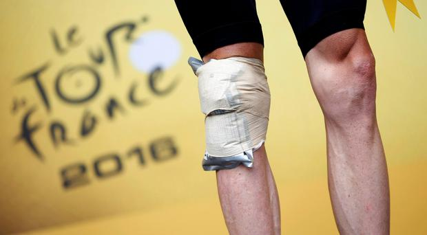 Chris Froome was in the wars again during yesterday's stage in the tour Photo: Reuters