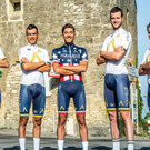 The Aqua Blue Sport team for the 2017 Vuelta a Espana are Aaron Gate, Lasse Norman Hansen, Mark Christian, Stefan Denifl, Larry Warbasse, Conor Dunne, Adam Blythe, Peter Koning, Michel Kreder Picture: Karen M. Edwards.